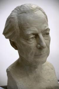 Eivind Groven(1901-1977) Byste i bronse av Betzy Gude, 1970 årene. Står i Norsk Komponistforening. Kopi i gips - Eivind Grovens Institutt. Oslo